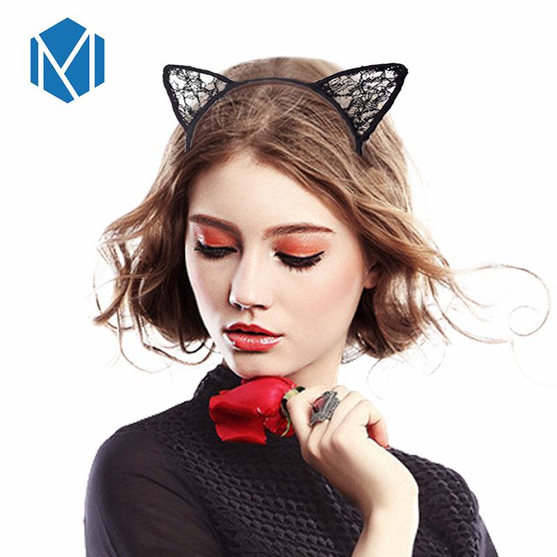 Women Lace Cat Ears Hairband Cosplay Fancy Dress Costume Masquerade Headband