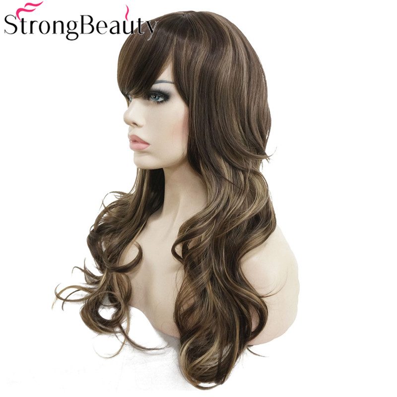 StrongBeauty Synthetic Wig Long Wavy Layered Hairstyle Brown with Blonde Highlights Full Wigs Womens Hair