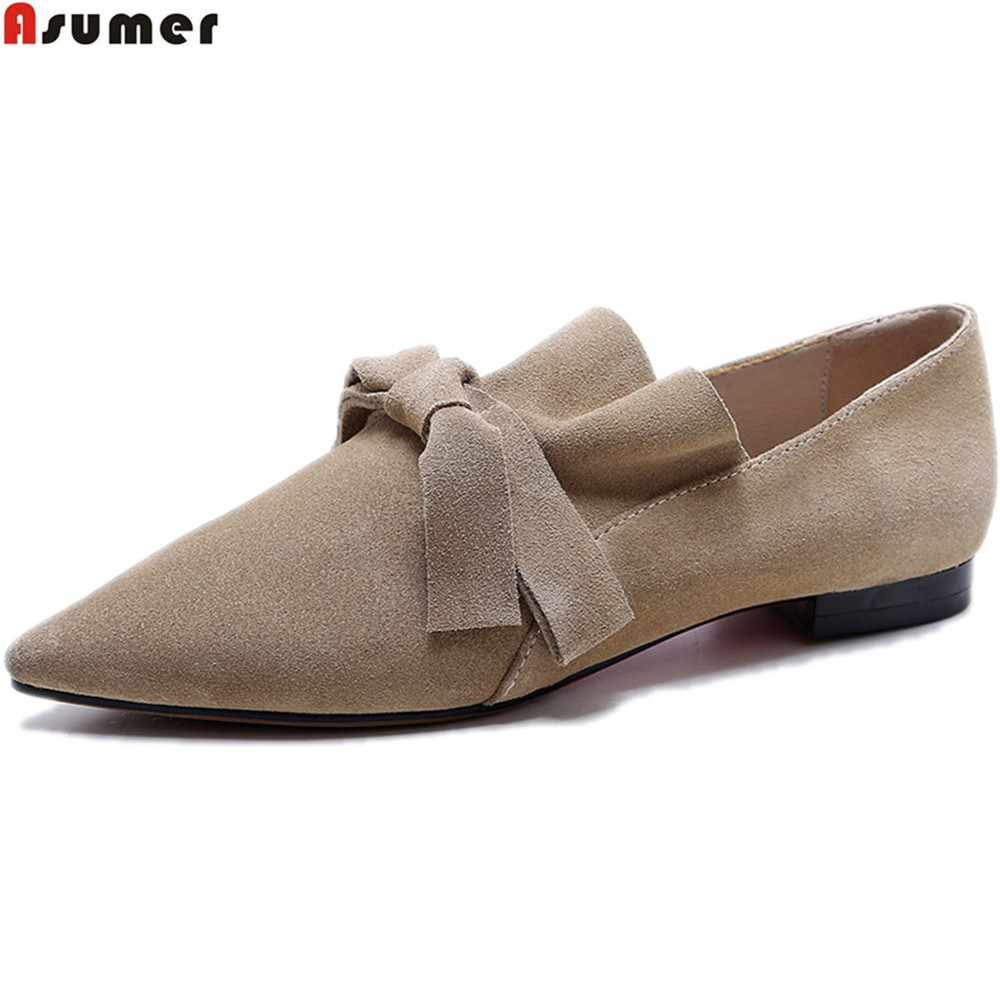 ASUMER 2018 fashion spring autumn women pumps pointed toe cow suede ladies shoes square heel black khaki leather low heel shoes red spring autumn women s low heel pumps flock plain pointed toe shallow slip on ladies casual single shoes zapatos mujer black