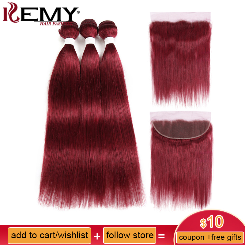 99j/Burgundy Red Color Brazilian Straight Human Hair Bundles With Frontal 13*4 Kemy Hair Pre Colored Non Remy Hair Weave Bundles