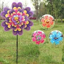 2019 Popular Double Layer Flower Windmill Wind Spinner Pinwheel Kids Toys Yard Garden Decoration