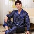 New Fashion Long Sleeve Mens Satin Slik Sleepwear Pajamas Sets Button Plaid Sleep Tops and Pants Bottoms QM12 Blue and Burgundy