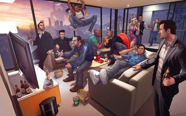 Us 7 04 45 Off Grand Theft Niko Bellic Artwork Gta San Andreas Vice City Grand Theft Gta V Carl 4 Sizes Home Decoration Canvas Poster Print In