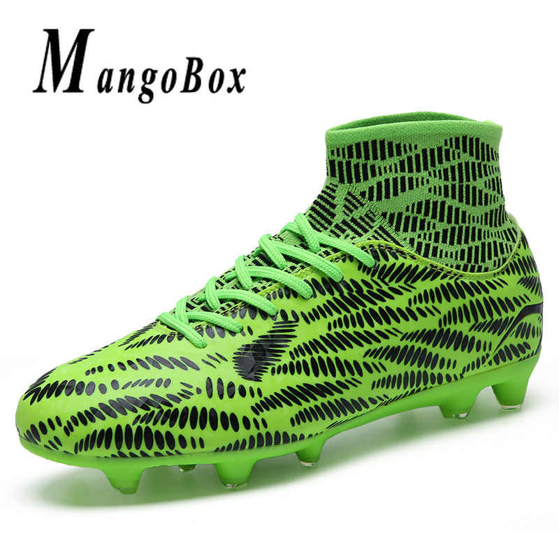 6d1aebd8a7f4 ... Top Quality Football Men Sock Boots Pu Leather Mens Soccer Trainers  Kids High Ankle Soccer Shoes ...