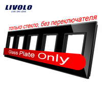 Livolo Luxury Black Pearl Crystal Glass 364mm 80mm EU Standard Quintuple Glass Panel For DIY Wall