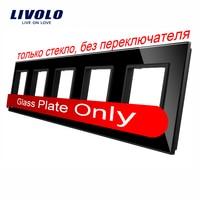 Livolo Luxury Black Pearl Crystal Glass 364mm 80mm EU Standard Quintuple Glass Panel For DIY Wall