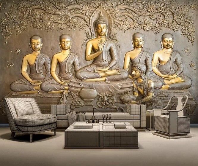 3D Водонепроницаемый самоклеющиеся настенные наклейки стереоскопический тисненый Будда Современный абстрактный настенное искусство|Обои|   | АлиЭкспресс