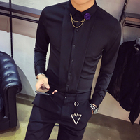 High Quality Tuxedo Shirt Men Slim Fit Long Sleeve Solid Social Party Dress Shirts Night Club Casual Blouses Homme Hot Sale 2XL
