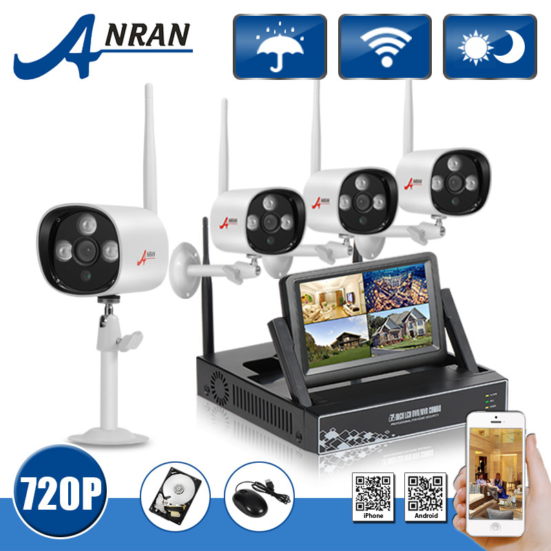 Anran Plug And Play 7 LCD Screen 4CH CCTV System Wireless NVR Kit 720P HD Outdoor