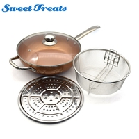 Sweettreats copper Round Pan Induction Chef Glass Lid Fry Basket, Steam Rack 4 Piece Set,12 inches used in induction