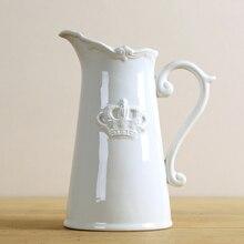 Vintage cerámica agua maceta estilo florero decorativo porcelana blanca corona jarra arte y artesanía adornos accesorios mobiliario