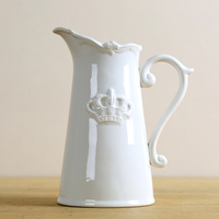 Vintage Ceramics Water Pot Style Flower Vase Decorative Porcelain White Crown Jug Art and Craft Ornament Accessories Furnishing