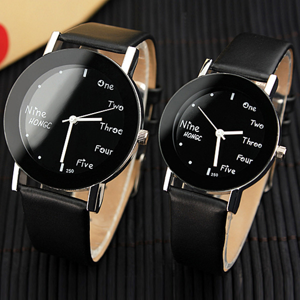 New Fashion Casual Couple Lovers Cute Black Brown Leather Quartz Wrist Watch Hours Gift for Women Men High Quality OP001 001 mystery brown