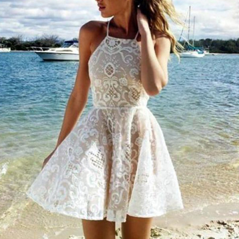 99be3b33db3 Detail Feedback Questions about Summer White Beach Dress Women Casual  Sleeveless Halter Lace Dress Ladies Vocation Short Mini Dress Sundress on  ...