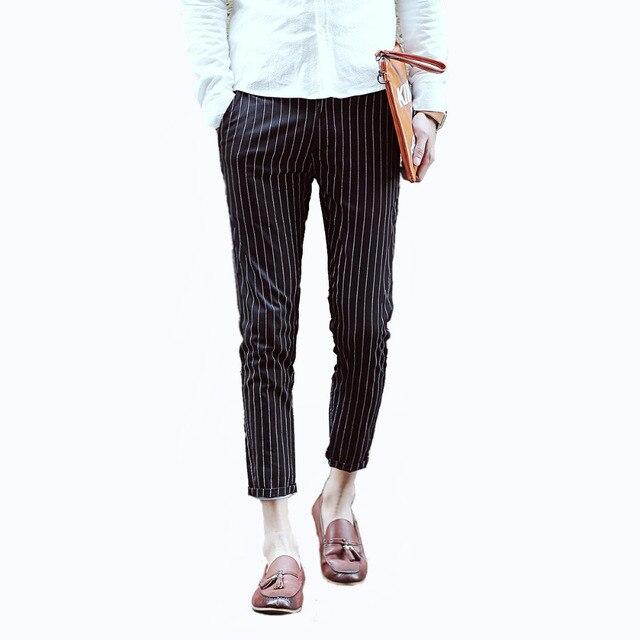 Vaak Trendy Enkellange Broek Zwart wit Gestreepte Broek Mannen @SD73