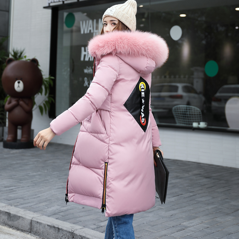 Wadded jacket female medium-long 2017 winter thickening cotton-padded jacket outerwear plus size slim large fur collar linenall women parkas loose medium long slanting lapel wadded jacket outerwear female plus size vintage cotton padded jacket ym
