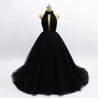 Black Princess Evening Dress Long Sexy Ball Gowns High end Prom Dresses Backless 2019 New Sweep Train Deep V neck Haute Couture