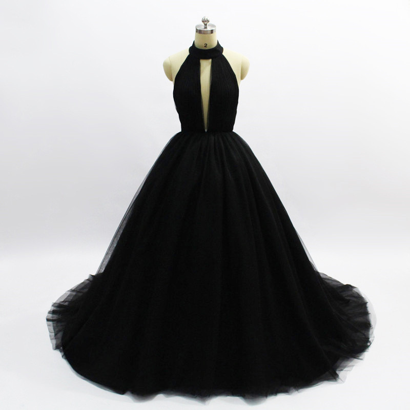 Black Princess   Evening     Dress   Long Sexy Ball Gowns High-end Prom   Dresses   Backless 2019 New Sweep Train Deep V-neck Haute Couture