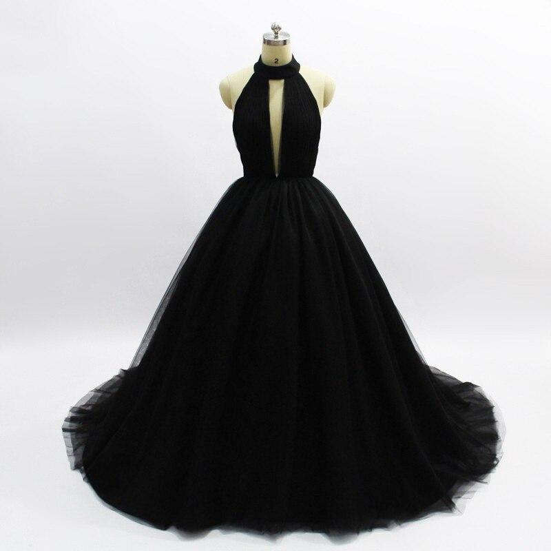 Robe de soirée princesse noire longue Sexy robes de bal haut de gamme robes de bal dos nu 2019 nouveau Train de balayage col en v profond Haute Couture