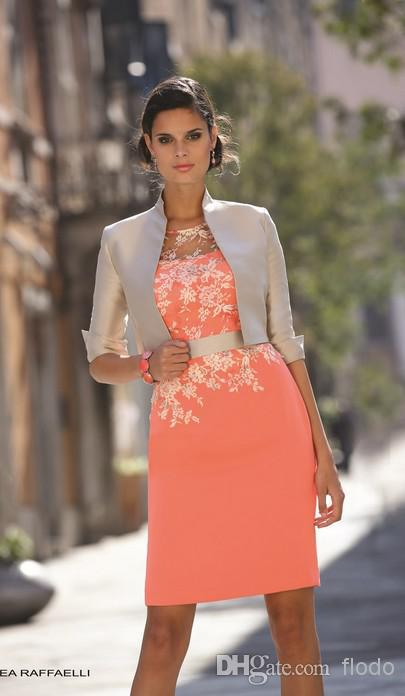 2018 Sexy Plus Size Knee Length White and Coral Lace Applique with Three Quarter Sleeve Jacket Mother of the Bride Dresses in Mother of the Bride Dresses from Weddings Events