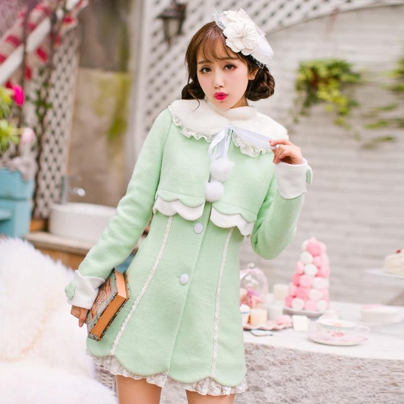 Здесь продается  Princess sweet lolita coat Candy rain  new Japanese sweet false two wool tweed coat girls long fur collar woolen coat C16CD6161  Одежда и аксессуары