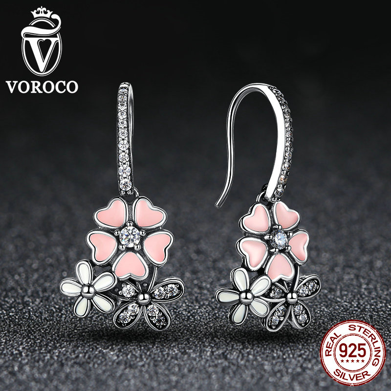 VOROCO 100 925 Sterling Silver Pink Flower Poetic Daisy Cherry Blossom Stud Earrings with Pearl Back