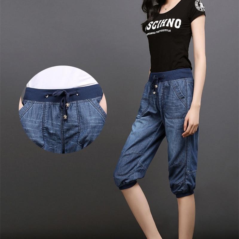 summer women harem pants jeans plus size loose trousers for women denim pants Capris jeans for woman 4XL