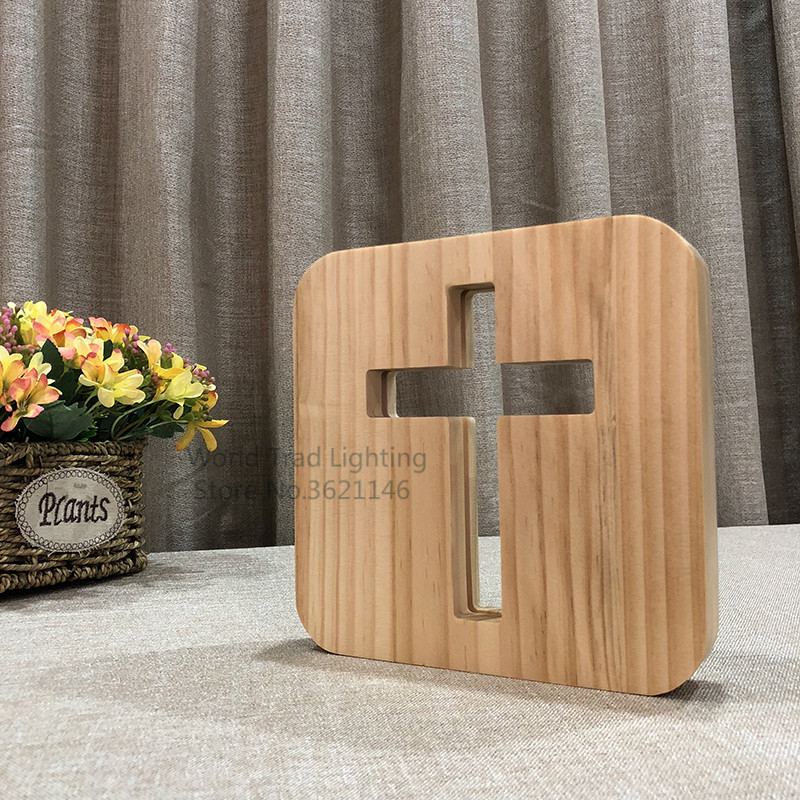 USB 3D LED Wood Night Light jesu cross christiana 3D Illusion Luminaria Lamp Gifts For christian religious catholicism orthodox