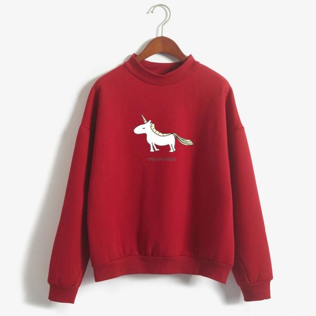Women Hoodie Female Long Sleeve Fleece Turtleneck Sweatshirt