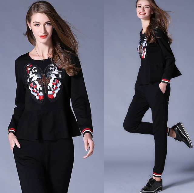 2016 Autumn women two pcs tracksuits embroidery ruffled blouse+long pants two pcs female twinset outfit clothes set XL-5XL 6752