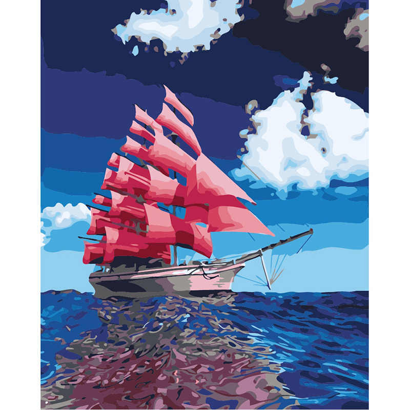 Sailing Boat DIY Painting By Numbers Drawing Painting By Numbers Kits Paint On Canvas For Home Wall Art Picture