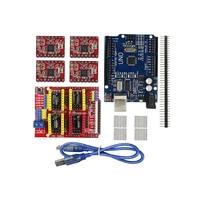 Free Shipping Cnc Shield V3 Engraving Machine 3D Printer 4pcs A4988 Driver Expansion Board UNO R3