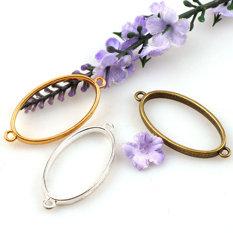 Vintage Oval Double-Side Antique Bronze Metal Hollow Frame Connector Charms Pendant DIY Jewelry Findings Accessories diy carbon steel oval frame cutting dies