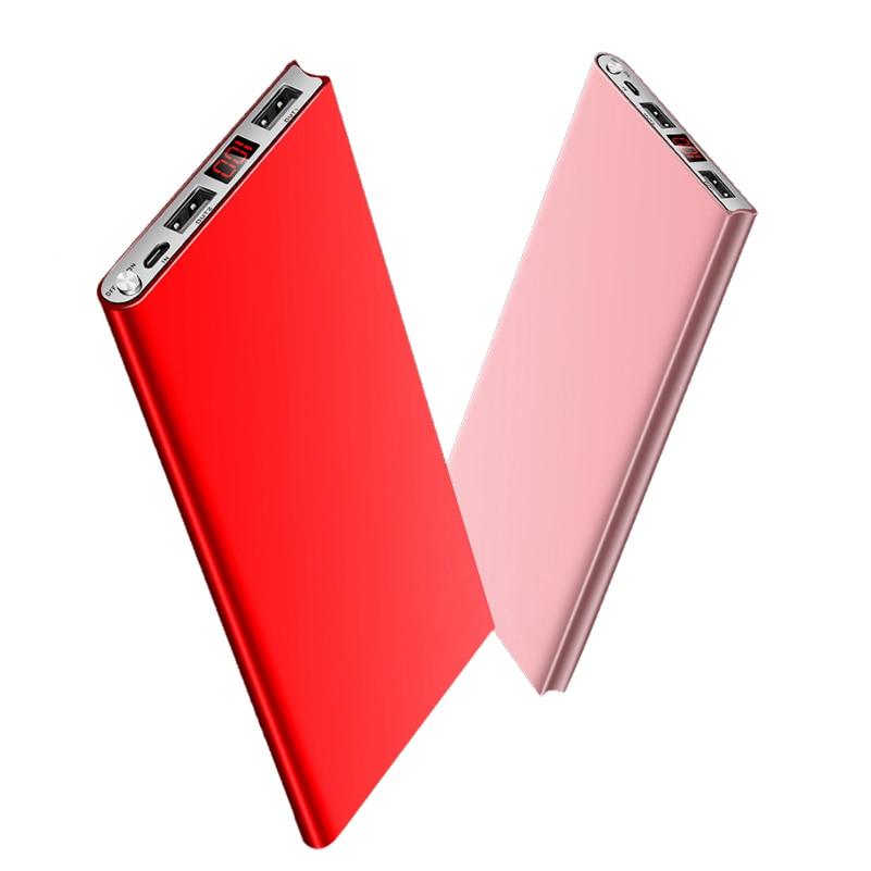 Ultra Sottile 20000 mah Accumulatori e caricabatterie di riserva Batteria Esterna 2 USB LED Powerbank Portatile Caricatore del telefono Mobile per Xiaomi iphone X 8 samsung