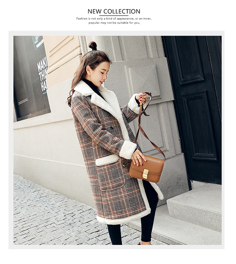 Lamb fur-padded 2018 winter women's new loose-fitting mid-length padded check wool coat, cotton-padded jacket 3