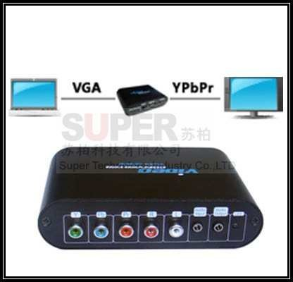 VGA to Component Video Converter,PC to TV VGA converter,converts PC VAG signal to display on TV,supports 480p 720P 1080P adapter