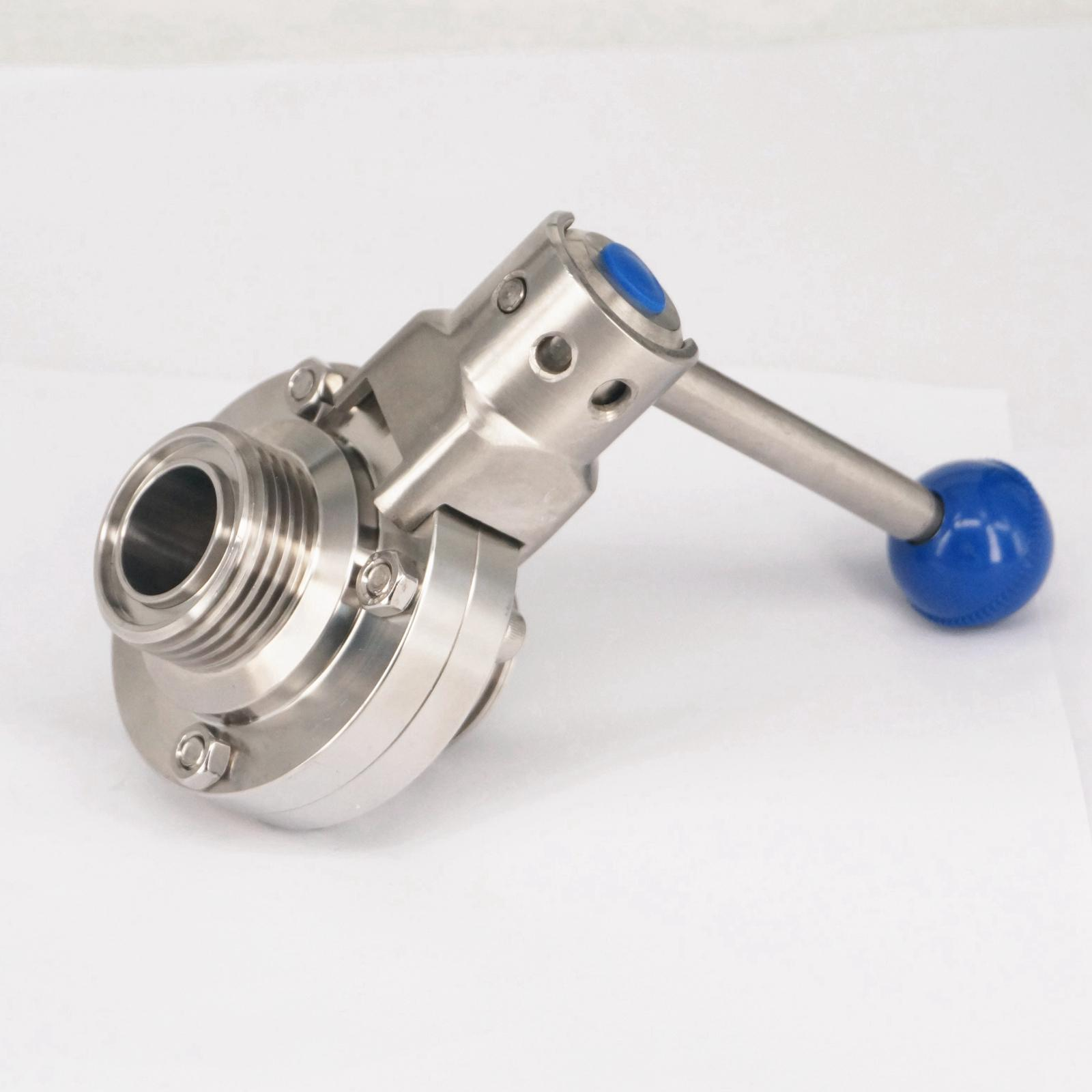1 25mm 304 Stainless Steel Sanitary T-Type Thread Union Connection Butterfly Valve Brew Beer Dairy Product dn100 silicon manual handle ss304 butterfly valve thread sanitary stainless steel