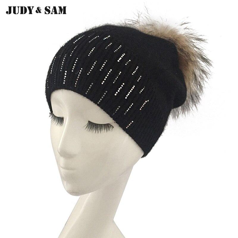 Новая мода метеорный поток ангора Hat Вязание шапки с реальным енота Мех животных помпоном 13 Цветов