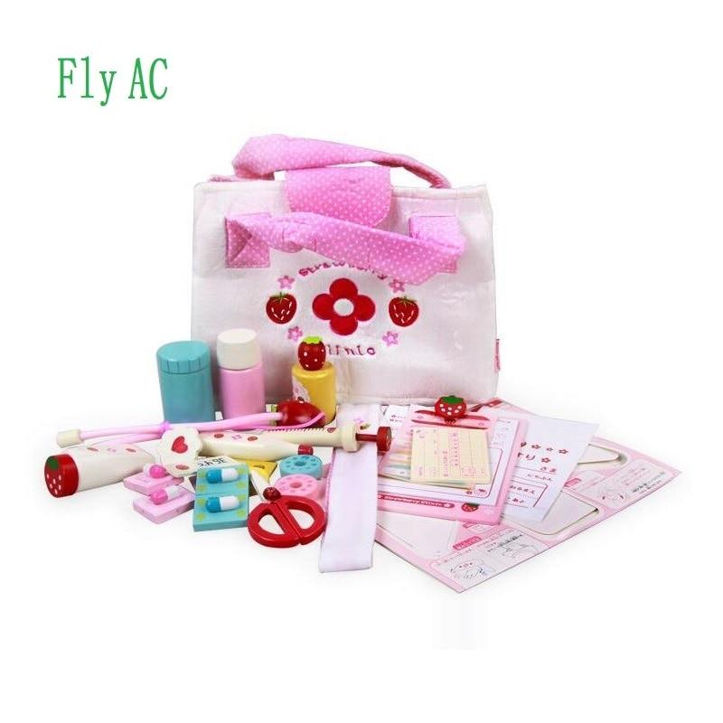 Kit de docteur Durable pour enfants avec stéthoscope série fraise sac boîte médicale médecin sacs à main jouets pour enfants par mouche AC