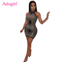 Adogirl Diamonds Bodycon Mini Evening Party Dress Women Sexy Sleeveless Halter Open Back Sheath Night Club Performance Dress