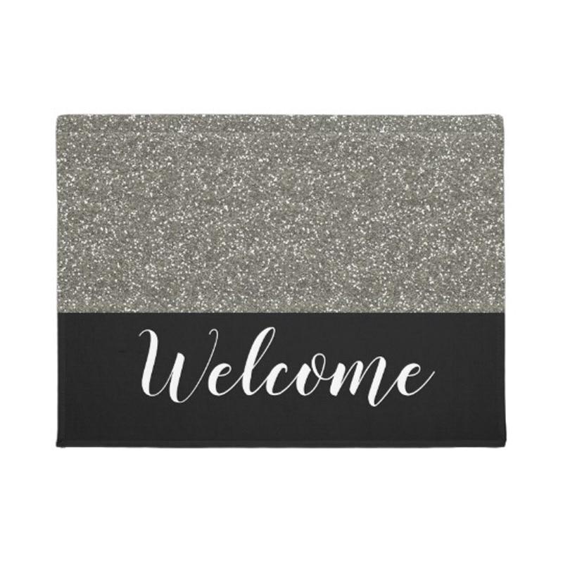 Black And Silver Glitter Look Welcome Doormat Home Decoration Entry Non-slip Door Mat Rubber Washable Floor mat