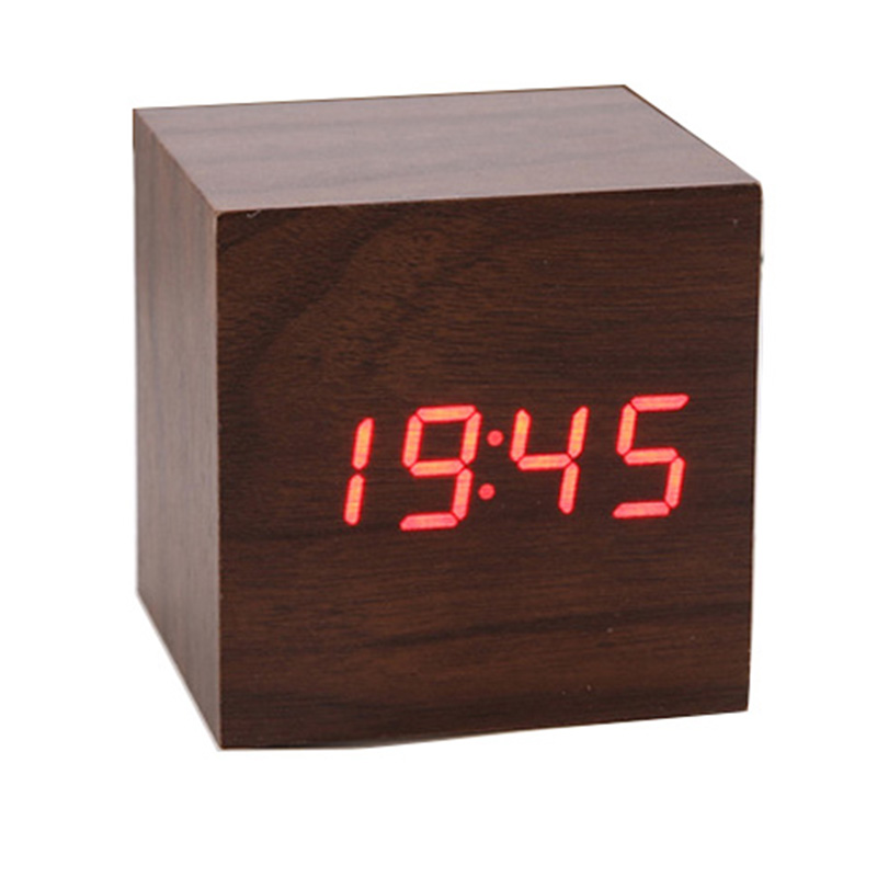 Adeeing LED Alarm Clock With Thermometer Temp Date LED Display Calendars Voice Control Desktop Digital Table Clock