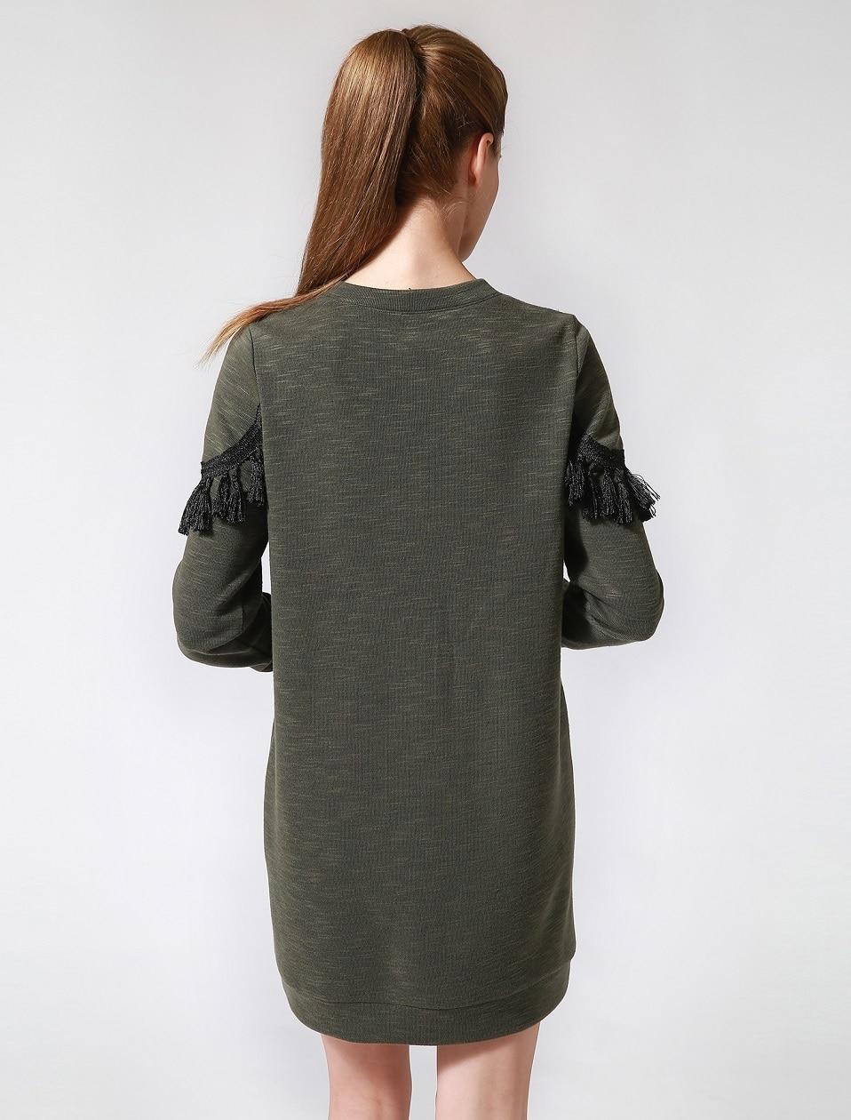 40b5e2f2b4df Once 3.28 Spring Women Mini Shirt Pullover Dress Army Green Tassel ...