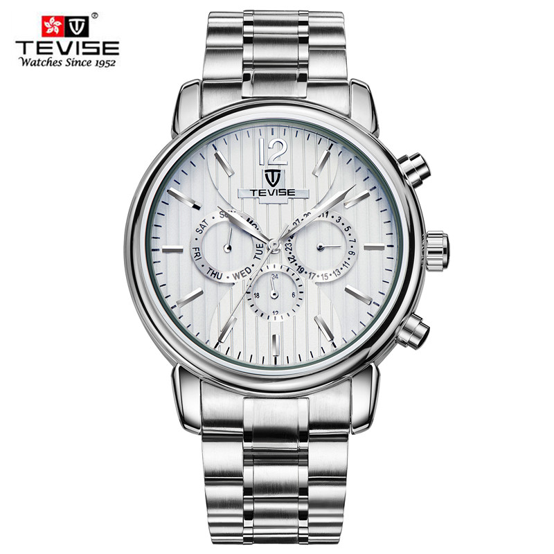TEVISE men watches men luxury brand Mechanical Watch Business Man Automatic Wristwatch Triple Sub-dial Stainless Steel relogio luxury tevise brands men s mechanical wristwatches automatic male watches fashion skeleton steel man watch relogio clock