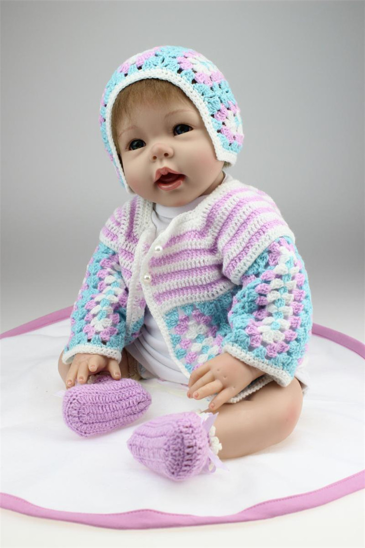 22 Inches 55CM Lovely Silicone Reborn Baby Dolls Realistic Hobbies Handmade Baby Alive Doll For Girls Safe Classic Toys22 Inches 55CM Lovely Silicone Reborn Baby Dolls Realistic Hobbies Handmade Baby Alive Doll For Girls Safe Classic Toys