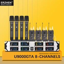Best professional handheld wireless microphone system UHF8 channel lapel condenser headset karaoke mics for singer studio 8000GT