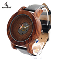 BOBO BIRD K07 Red Sandalwood Watch Mens Quartz-watch 47.5mm Diameter 2035 Moveme Exposed Woode Dial Wristwatch in Gift Box