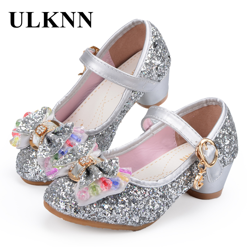 ULKNN Girls Sandals Children Princess Shoes Butterfly Knot Colorfully Beading Glitter Party Dress Shoes For Girls Baby Kids faux pearl beading open shoulder knot chiffon dress