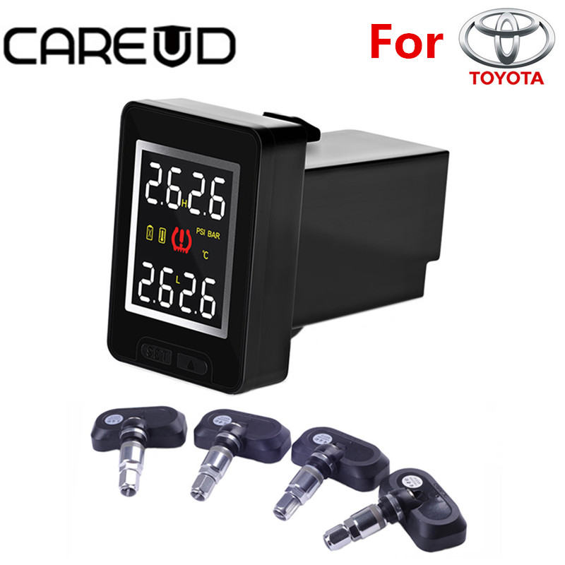 CAREUD U912 Car TPMS Auto Wireless Tire Pressure Monitoring System 4 Built-in Sensors LCD Display Embedded Monitor For Toyota car tpms wireless auto tire pressure monitoring system with 4 built in sensors lcd embedded monitor for toyota
