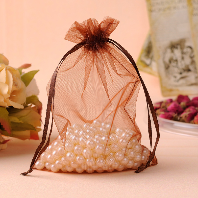 Drawstring Gift Bags For Shoes Hair Extention 35x50cm Coffee Color Large Organza Bag organizador de joyas Can Be Custom Logo